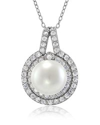Lord & Taylor | Metallic Faux Pearl, Cubic Zirconia And Sterling Silver Halo Pendant Necklace | Lyst