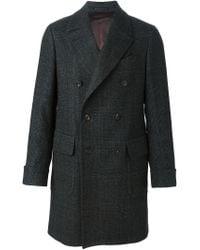 Dell'Oglio - Gray Double Breasted Midi Coat for Men - Lyst