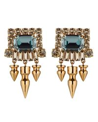 Mawi | Green Gemstone Earrings with Crystals and Spikes | Lyst