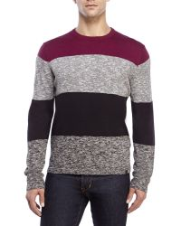 DKNY - Red Block Striped Pullover for Men - Lyst