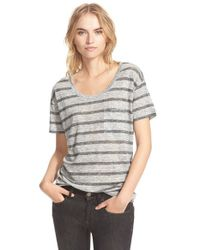 Burberry Brit - Gray Stripe Linen Tee - Lyst