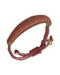 Guess - Bracelet Goldtone Pink Stingray Texture Friendship Bracelet - Lyst