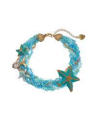 Betsey Johnson - Into The Blue Beaded Collar Necklace - Lyst