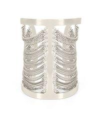 BCBGMAXAZRIA | Gray Silvertone Draped Chain Cuff Bracelet | Lyst