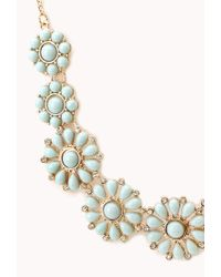 Forever 21 - Green Dainty Floral Faux Stone Necklace - Lyst