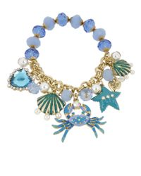 Betsey Johnson - Into The Blue Seashell Bead And Crab Charm Bracelet - Lyst
