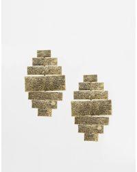 ASOS - Metallic Bricks Chandelier Earrings - Lyst