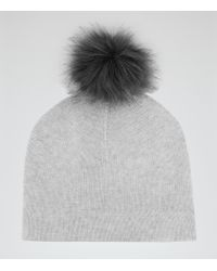 Reiss | Gray Flo Cashmere-blend Bobble Hat | Lyst