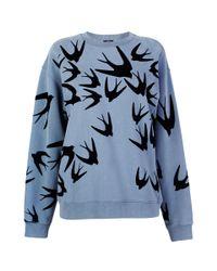 McQ - Blue Swallow Flock Print Sweatshirt - Lyst