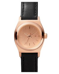 Nixon | Black 'the Small Time Teller' Leather Strap Watch | Lyst