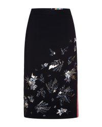 MSGM | Black Sequin Appliqué Pencil Skirt | Lyst