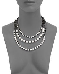 Lanvin | Gray Faux Pearl Three-strand Chain Necklace | Lyst
