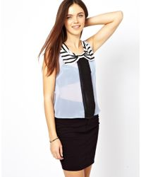 Glamorous - Blue Sleeveless Top with Stripe Collar - Lyst