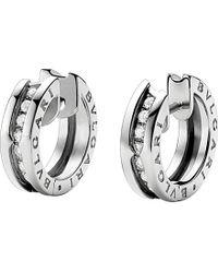 BVLGARI | Metallic B.zero1 18kt White-gold And Diamond Earrings | Lyst