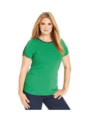 Michael Kors | Green Shortsleeve Striped Ruched Tee | Lyst