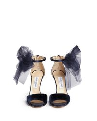 Jimmy Choo - Blue 'Lilyth 100' Tulle Bow Velvet Sandals - Lyst