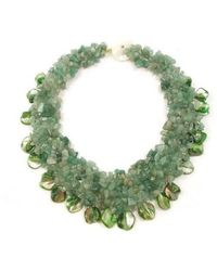 Aeravida - Green Aventurine And Seashells Cluster Stone Toggle Necklace - Lyst