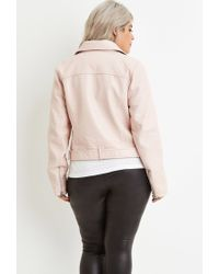 Forever 21 - Pink Plus Size Faux Leather Moto Jacket - Lyst
