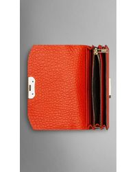 Burberry - Orange Small Signature Grain Leather Clutch Bag With Chain - Lyst