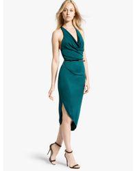 Halston - Blue Halter Jersey Dress - Lyst