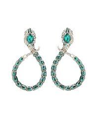 Roberto Cavalli - Green Embellished Clip-on Earrings - Lyst