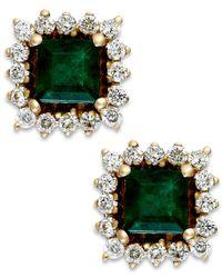 Macy's | Green Emerald (5/8 Ct. T.w.) And Diamond (1/3 Ct. T.w.) Stud Earrings In 14k Gold | Lyst