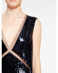 DKNY - Blue Sequin V-neck Dress With Tulle Inserts - Lyst