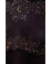 Marchesa - Black Ultra Suede Cocktail Dress with Laser Cut Peplum - Lyst