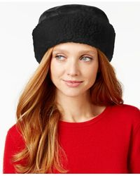 Nine West | Black Curly Faux Fur Cuff Cloche | Lyst