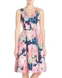 Eliza J | Multicolor Floral-Print Pleated Dress | Lyst
