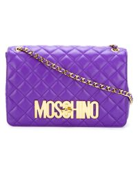 Moschino - Purple Quilted Logo Crossbody Bag - Lyst