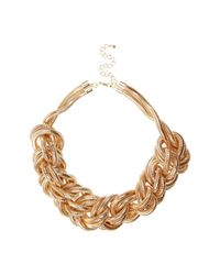 River Island | Metallic Gold Tone Oversized Plaited Necklace | Lyst