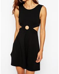 ASOS - Black Petite 90s Skater Dress With Metal Ring And Cut Out Sides - Lyst