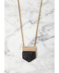 Forever 21 | Metallic Angular Faux Marble Pendant Necklace | Lyst
