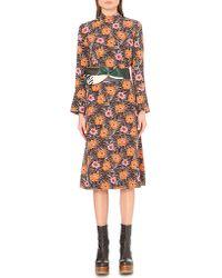 Marni - Purple Asticon-print Flared Dress - Lyst