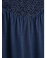 Mango - Blue Crochet Panel Blouse - Lyst