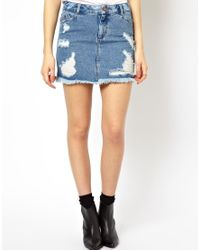 ASOS | Blue Denim Ripped Pelmet Skirt | Lyst