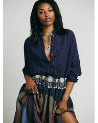 Free People | Purple Ray Of Light Extreme Buttondown | Lyst