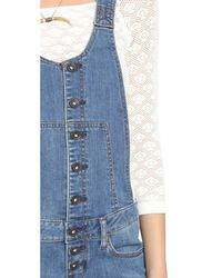 Free People | Blue Century Button Front Shortalls - Willow | Lyst