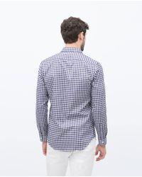 Zara | White Check Shirt for Men | Lyst
