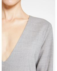 DKNY - Gray V-neck Dress - Lyst