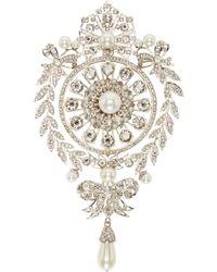 Givenchy | Metallic Silver Pearl And Rhinestone Brooch | Lyst