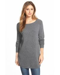 Halogen | Gray Shirttail Wool & Cashmere Boatneck Tunic | Lyst