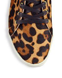 Joie - Multicolor Felton Leopard Calf Hair Wedge Sneakers - Lyst