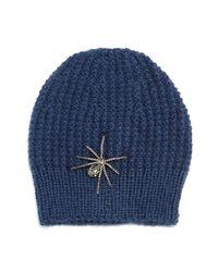 Jennifer Behr | Blue Crystal Spider Knit Beanie Hat | Lyst