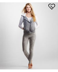 Aéropostale   Gray Asymetrical-zip Hooded Sherpa Vest   Lyst