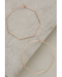 Anthropologie | Metallic Hexagon Hoops | Lyst