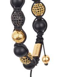 Nialaya | Metallic Gold Plated Crystal Embellished Onyx Bracelet for Men | Lyst