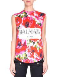 Balmain - Pink Sleeveless Floral-print Logo Tee - Lyst