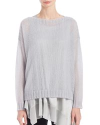 Eileen Fisher | Gray Airy Mohair-blend Boxy Sweater | Lyst